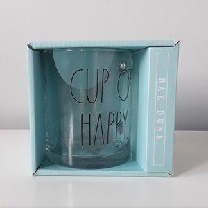 "Rae Dunn Clear ""Cup of Happy"" Glass Mug"
